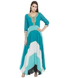 Teal Blue Embroidered Georgette Kurta