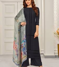 Buy Black embroidered cotton salwar with dupatta palazzo online