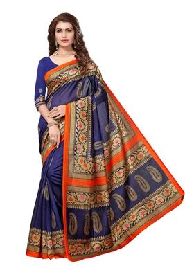 a7be0599aa Buy Dark blue printed bhagalpuri silk saree with blouse Online
