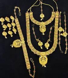 Buy Temple jewellery Full Bridal Set Pink Green bridal-set online