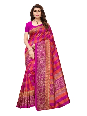 Pink printed silk blend saree with blouse