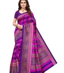 Buy Purple printed silk blend saree with blouse printed-saree online