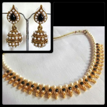 pearl Black Gota necklace set