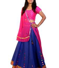 Blue mirror cotton stitched lehenga with dupatta lehenga-choli