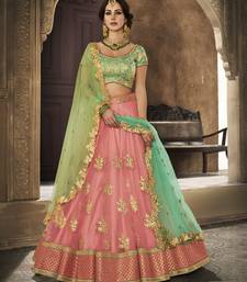 Pink Embroidered Net Lehenga Choli With Dupatta