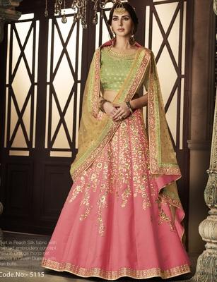 Pink Embroidered Silk Lehenga Choli With Dupatta