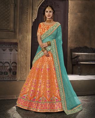 efc9096502 Orange Embroidered silk Brocade Lehenga With Dupatta - The Fashion Attire -  2706811