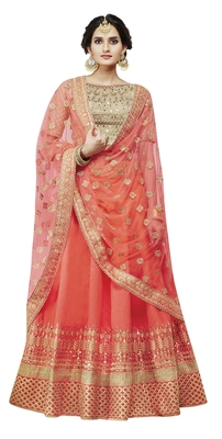 Orange Embroidered Handloom Silk Lehenga Choli With Dupatta