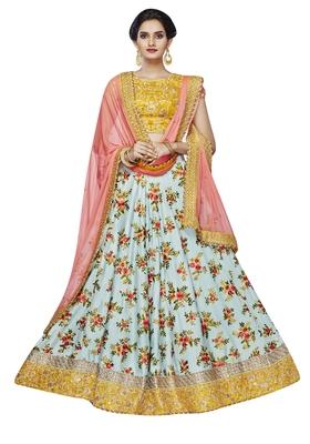 Sky Blue Embroidered Silk Satin Lehenga Choli With Dupatta