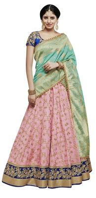 d7edba8ded Pink Embroidered Tussar Silk Lehenga Choli With Dupatta - The ...