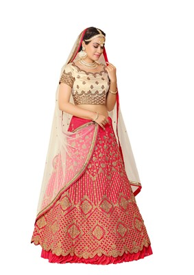Pink Embroidered Art Silk Lehenga Choli With Dupatta