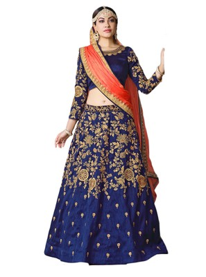 Blue Embroidered Art Silk Lehenga Choli With Dupatta