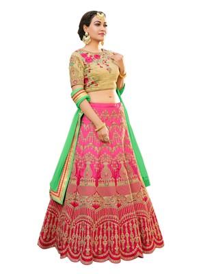 Pink Embroidered Art Silk Lehenga Choli With Dupatta