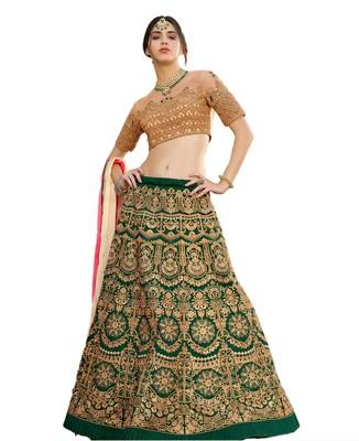 Green Embroidered Art Silk Lehenga Choli With Dupatta