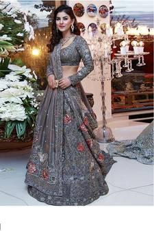 7f3a337b1038f Grey embroidered net semi stitched lehenga with dupatta. Shop Now