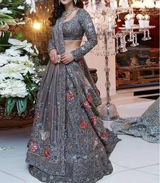 Buy Grey Embroidered Nylone Net Lehenga Choli With Dupatta lehenga-choli online