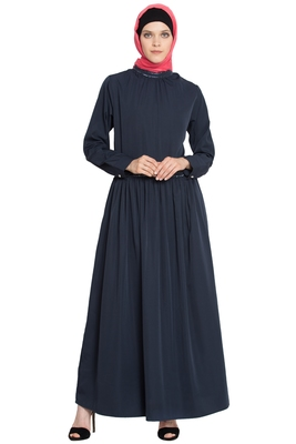 Navy Plain Poly Crepe Islamic Abaya
