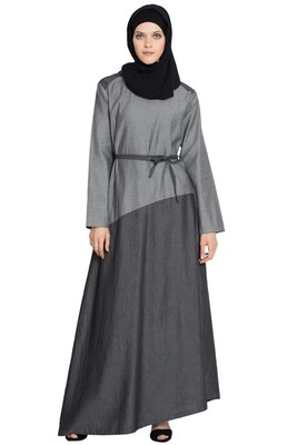 Grey Plain Cotton Islamic Abaya