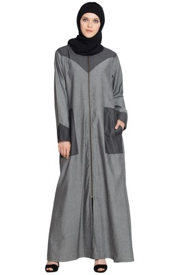 Grey Plain Cotton Islamic Abaya