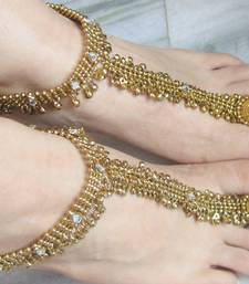 Buy ANKLET antique GOLD TONE PAYAL PAIR , ATTACHED TOE RING AN124 anklet online