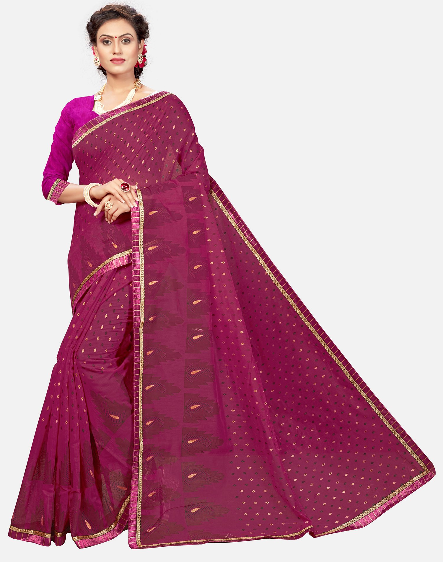 992d1f5b6c Dark pink printed chanderi cotton saree with blouse - Vastrang - 2707578