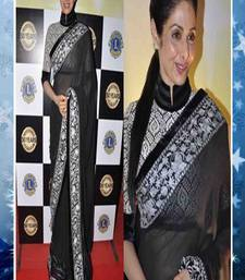 Buy Sridevi In Black Net Embroidered saree with blouse sridevi-saree online