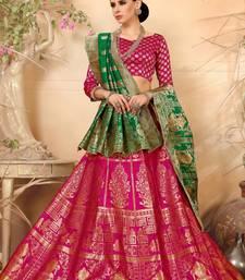 Buy Pink woven silk semi stitched lehenga with dupatta lehenga-choli online