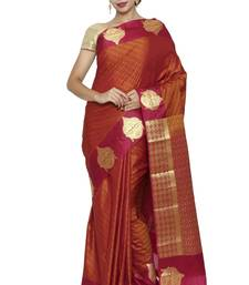 Buy Red Woven Raw Silk Saree With Blouse diwali-sarees-collection online