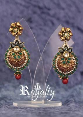 Royal Dull Golden Gemstones EarringsRoyal Dull Golden Gemstones Earrings