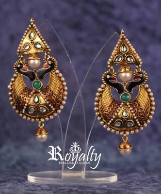 Royal Peacock Polki Earrings
