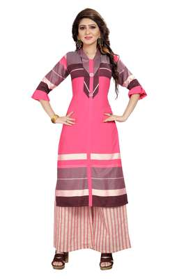 Pink Rayon Party Wear Stitched Kurti Set