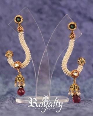Royal Long Polki Jhumki Earrings, studded pearls & Gemstones