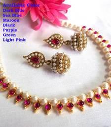 Buy Dark pink pearl necklace set necklace-set online