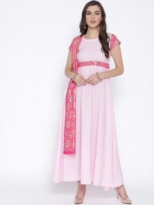 Pink printed crepe kurta