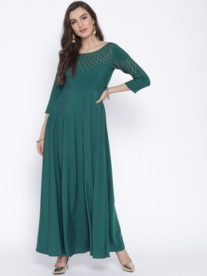 Turquoise printed crepe kurta