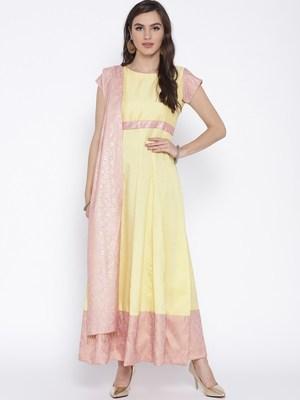 Yellow printed polyester kurta