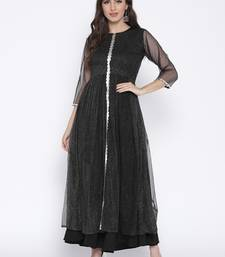 Black printed net kurta