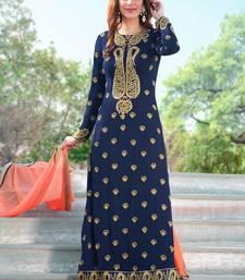 Buy Blue embroidered faux georgette salwar with dupatta pakistani-salwar-kameez online