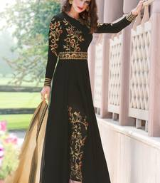 Buy Black embroidered faux georgette salwar with dupatta party-wear-salwar-kameez online