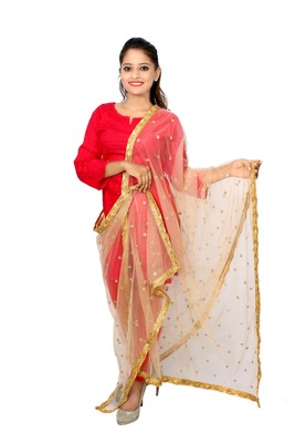 Golden net dupatta with embroidery work