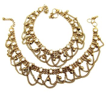 Traditional gold plated kundan anklet oa8
