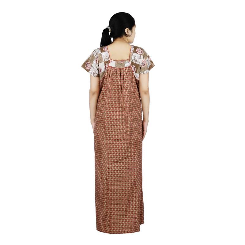 ... Red and brown colour floral design printed square neck cotton nighty  for ladies free size nightwear 6bcafefd6