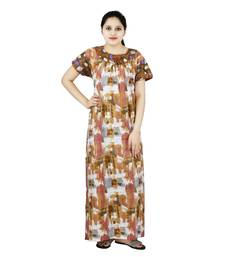 Buy Brown and white colour abstract design printed round neck cotton nighty for ladies free size nightwear sleepwear online
