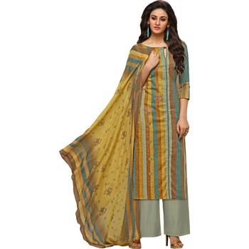 Multicolor Satin Cotton Printed & Embroidered Women's Palazzo Suit