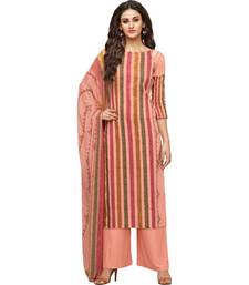Buy Peach Satin Cotton Printed & Embroidered Women's Palazzo Suit palazzo online
