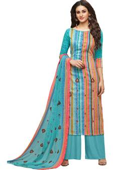 fdf7a69b5a Sky Blue Satin Cotton Printed & Embroidered Women's Palazzo Suit. Shop Now