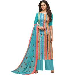 Buy Sky Blue Satin Cotton Printed & Embroidered Women's Palazzo Suit palazzo online