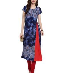 Buy Blue printed viscose kurti kurtas-and-kurtis online