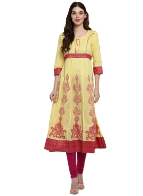 Yellow printed viscose kurti