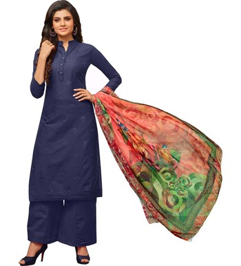Navy Blue Cambric Cotton Printed & Embroidered Women's Palazzo Suit